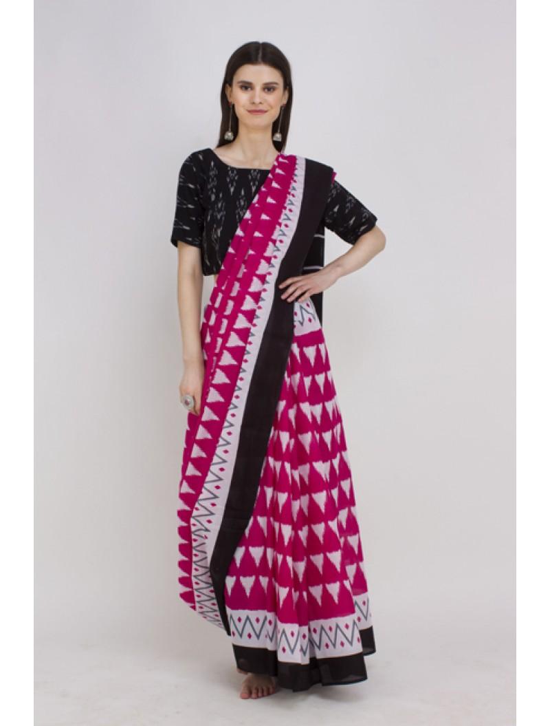Pink Ikkat Handblock Printed Cotton Saree