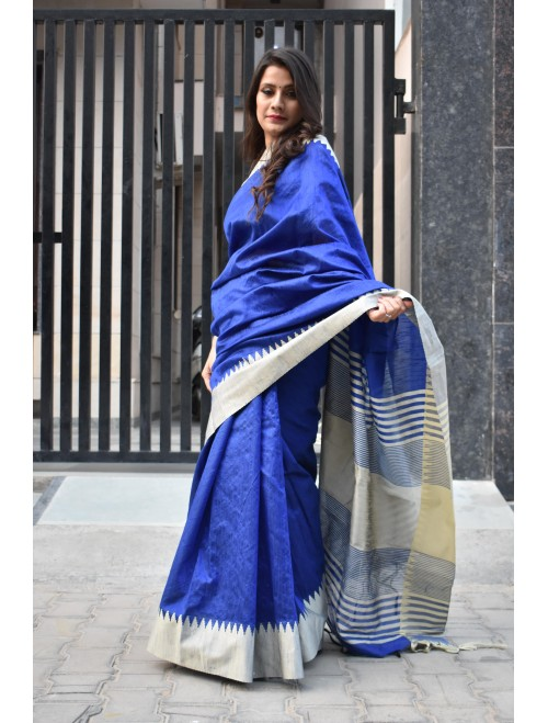 Blue Semi-Raw Silk Woven Saree