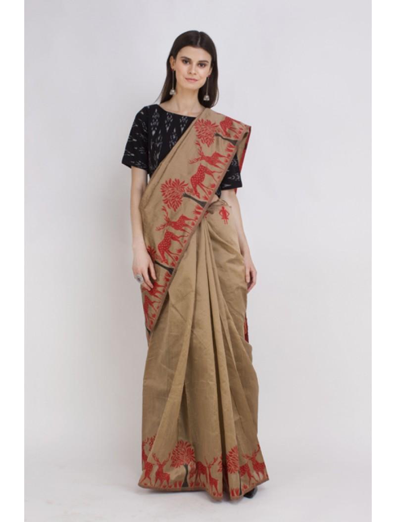 Golden Semi-Raw Silk Kalamkari Woven Saree