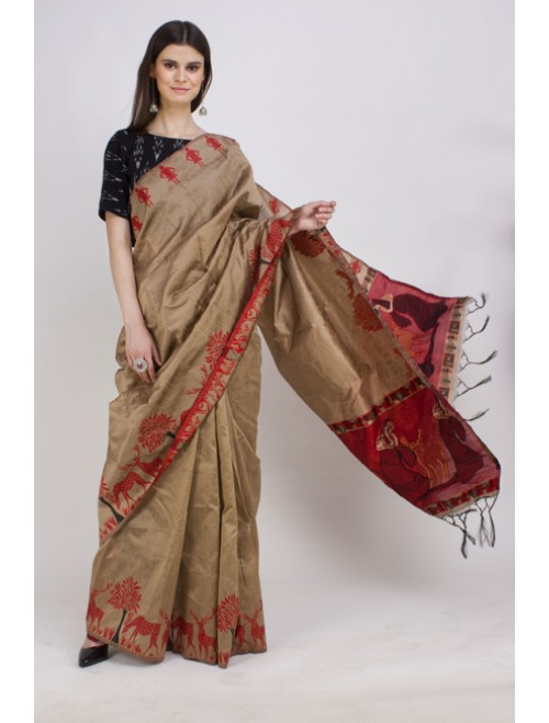 Golden Semi-Raw Silk Kalamkari Woven Sar...