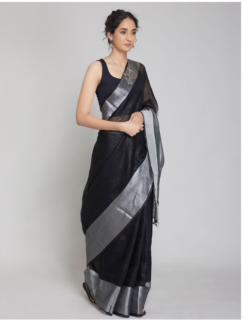 Antra Grey Black Zari Linen Saree