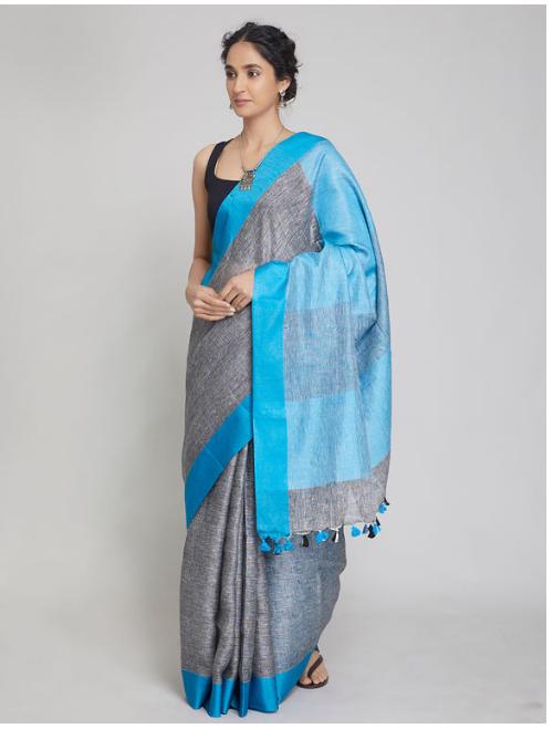 Antra Grey Blue Linen Saree