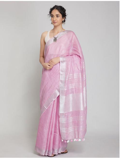 Antra Light Pink Zari Linen Saree