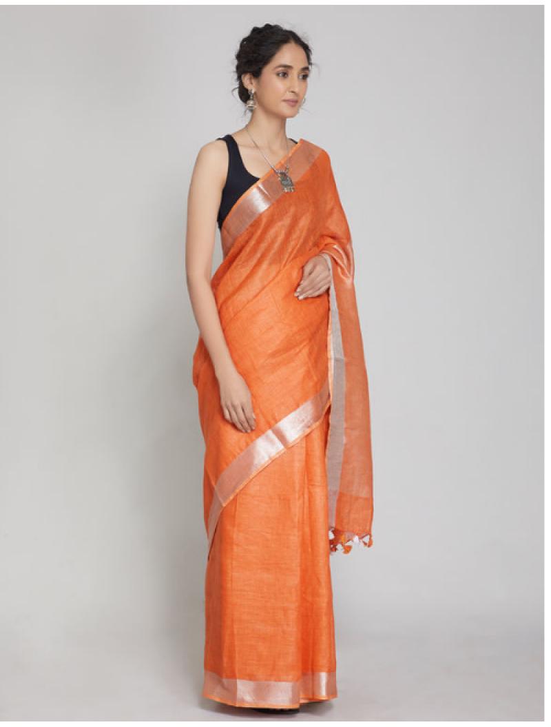 Antra Orange Zari Linen Saree