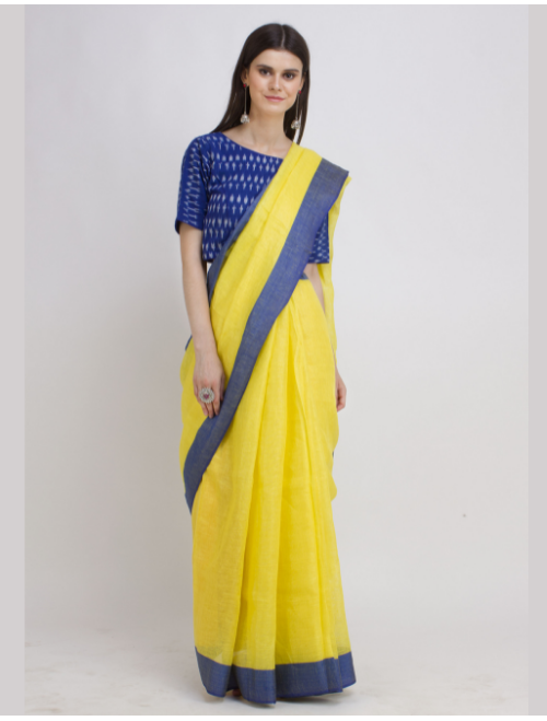 Antra Yellow Blue Linen Saree