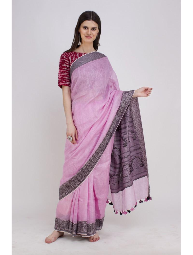 Pink Jamdani Woven Madhubani Linen Saree