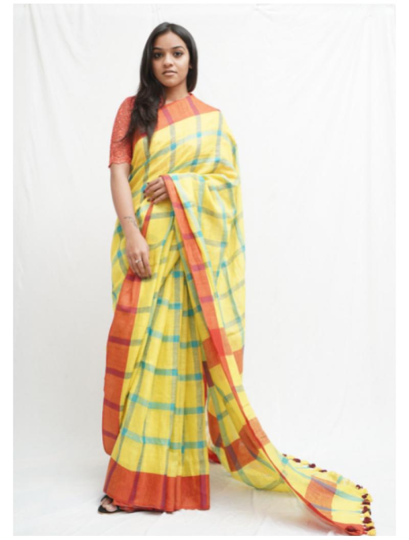 Yellow Checkered Linen Saree