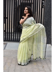 Lemon Green Zari Linen Saree