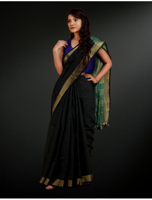 Black Green Linen Saree