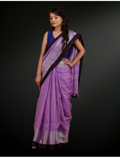 Broad Boarder Purple with Silver Zari Li...