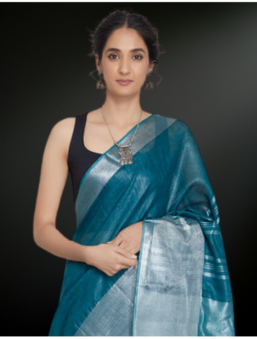 Broad Boarder Teal Blue Zari Linen Saree