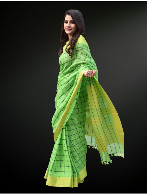 Checkered Green Linen Saree