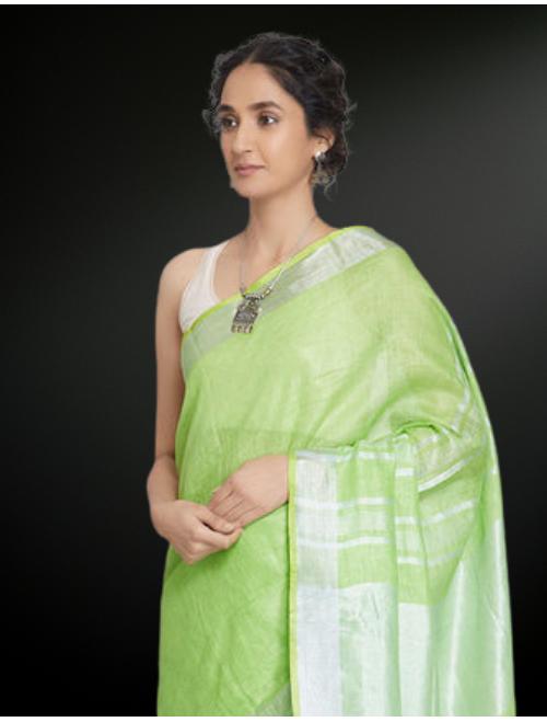 Antra Green Zari Linen Saree