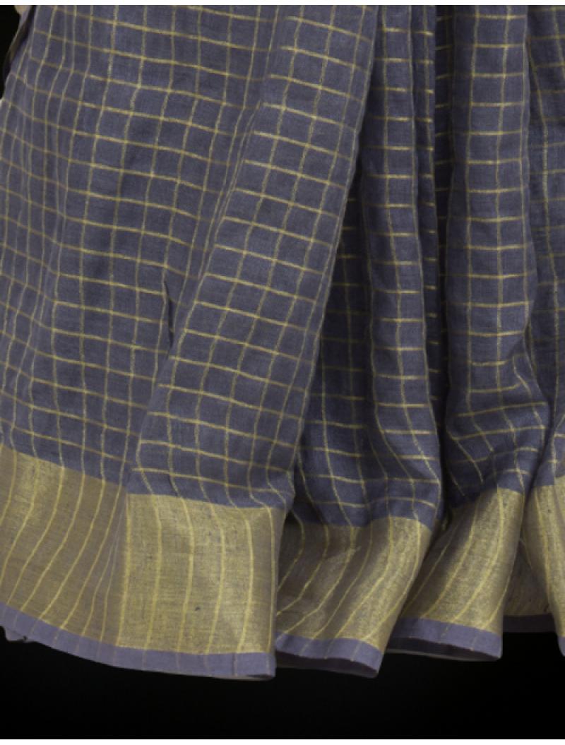 Grey Zari Checkered Linen Saree
