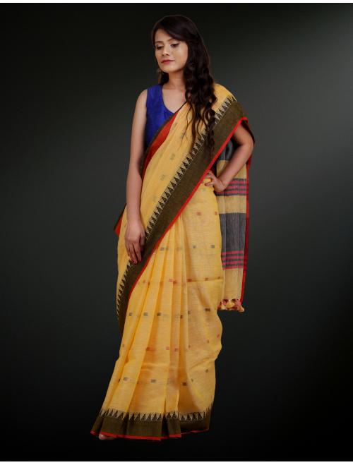 Jamdani Yellow Linen saree