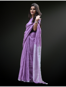 Light Purple Zari Linen Saree