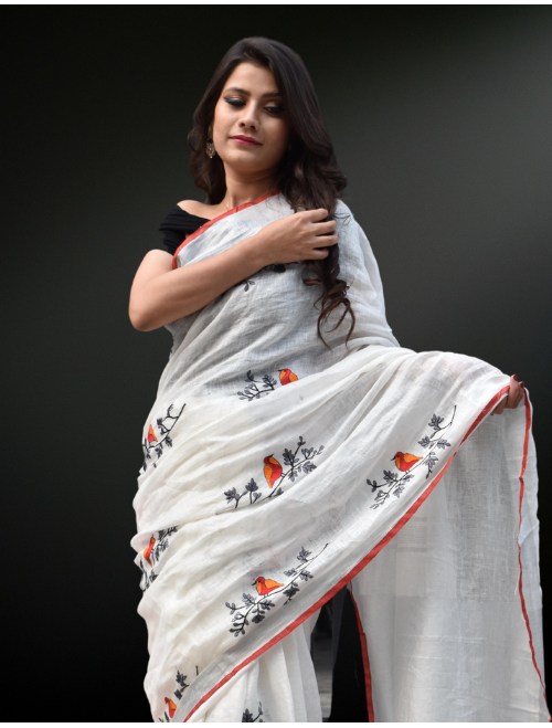 White Digital Embroidery Linen Saree