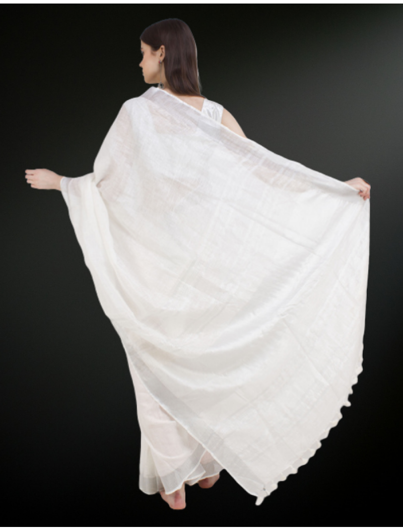 White Linen Saree