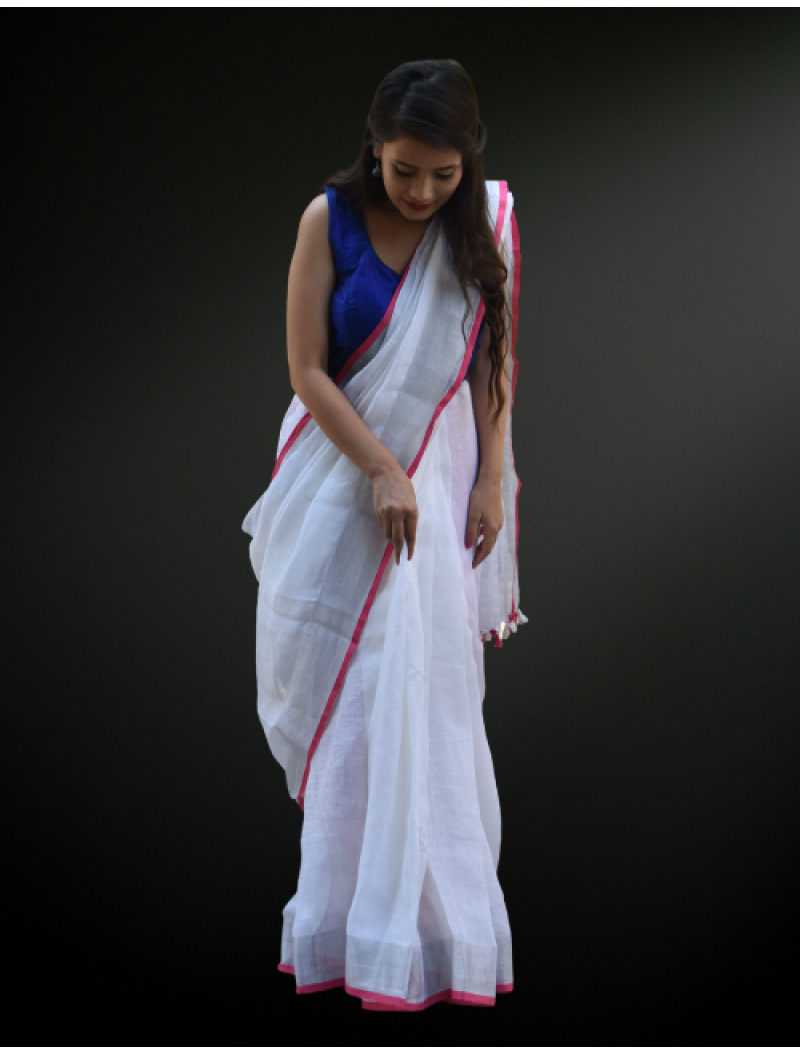 White Linen Saree with pink Piping
