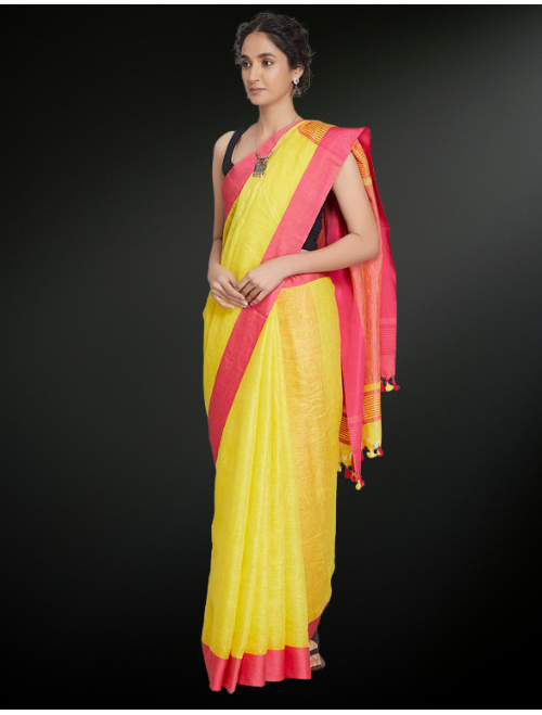 Yellow Red Linen Saree