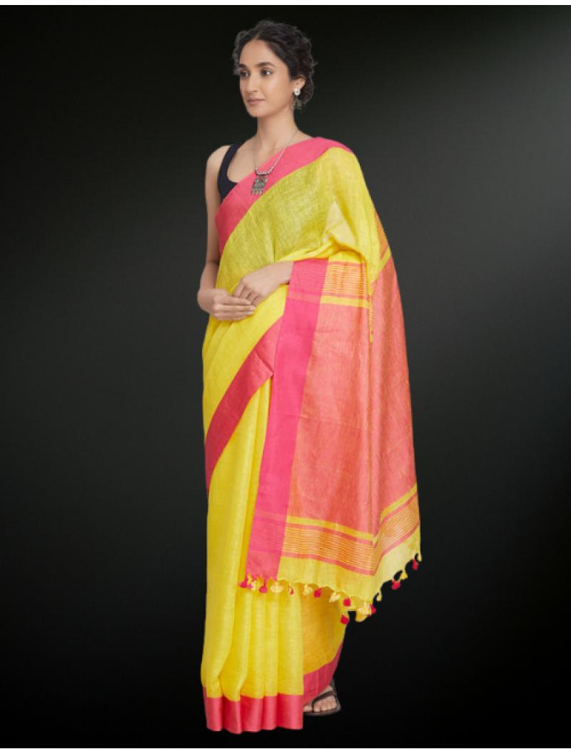 Yellow Red Linen Saree