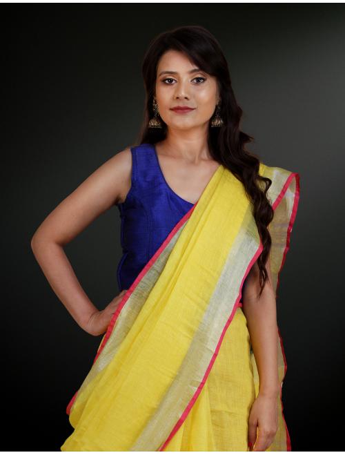 Yellow With Silver Zari Border Linen Sar...
