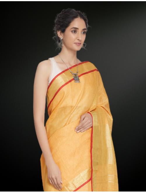 Yellow Zari Linen Saree