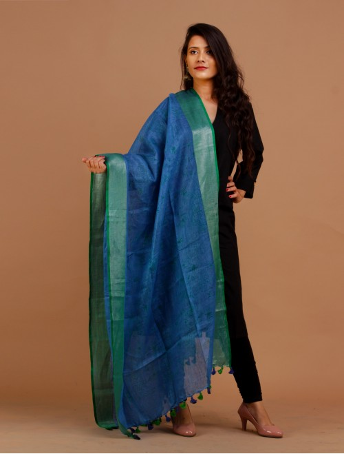 Linen Printed Blue zari border Dupatta