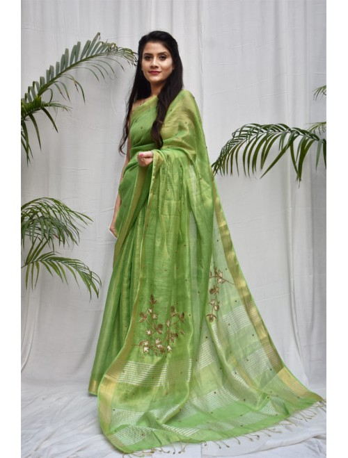Tissue Green and Golden Zari Linen Saree
