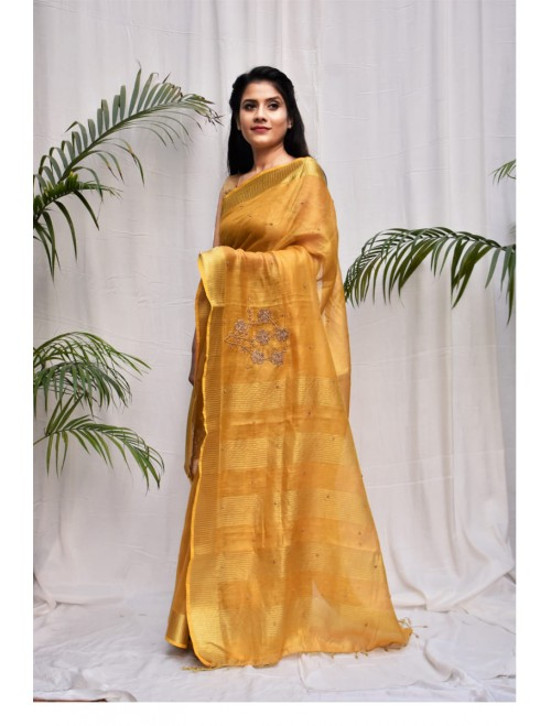 Tissue Yellow and Golden Zari Linen Sare...