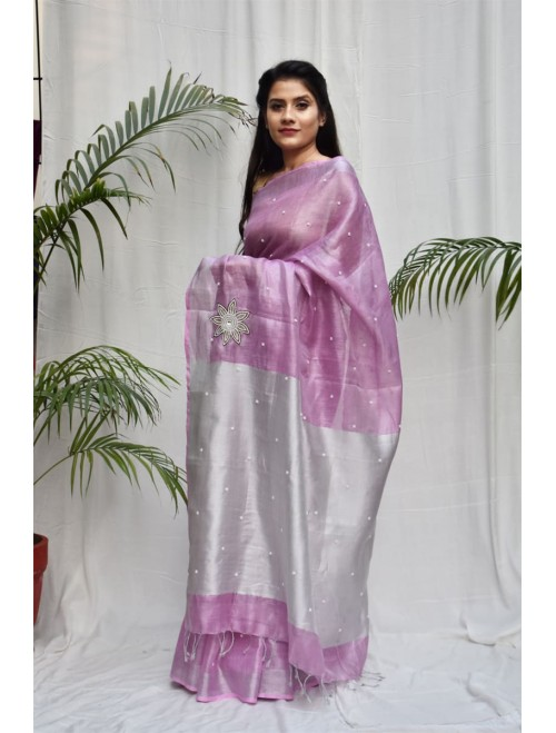 Tissue Pink and Silver Zari Linen Saree