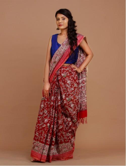 Maroon Cotton Silk Madhubani Saree