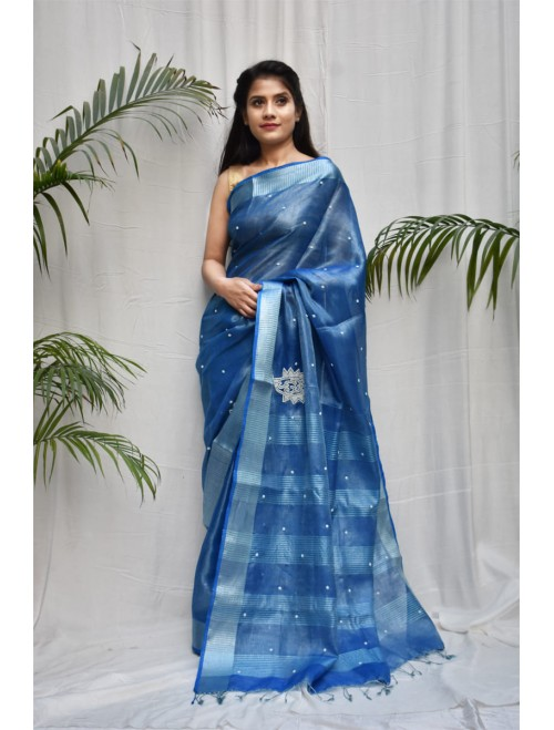 Tissue Blue and Silver Zari Linen Saree