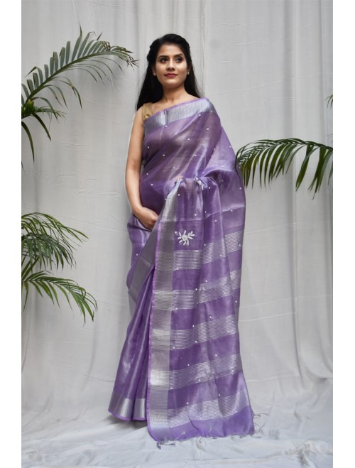 Tissue Purple and Silver Zari Linen Sare...