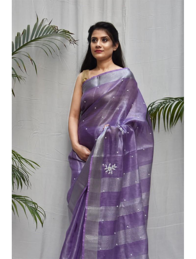 Purple and Silver Tissue Zari Linen Saree