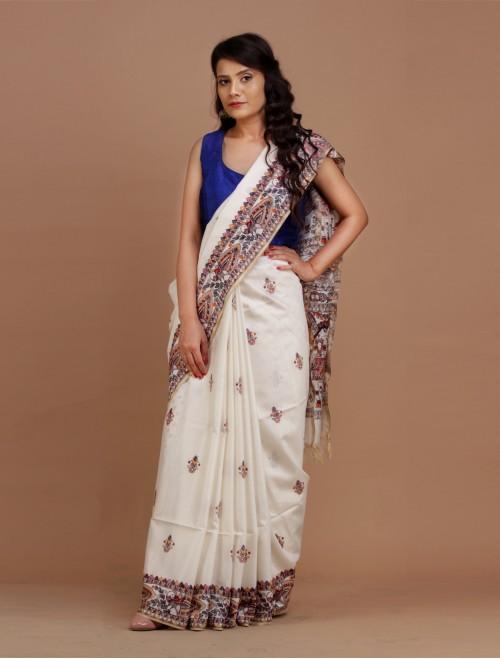 White Cotton Silk Madhubani Saree