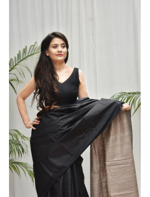 Black Tusser Silk cotton blend Saree