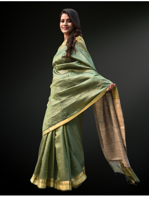 Pista Green Pure Tusser Silk Saree