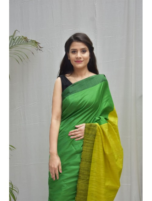 Green Tusser Silk cotton blend Saree