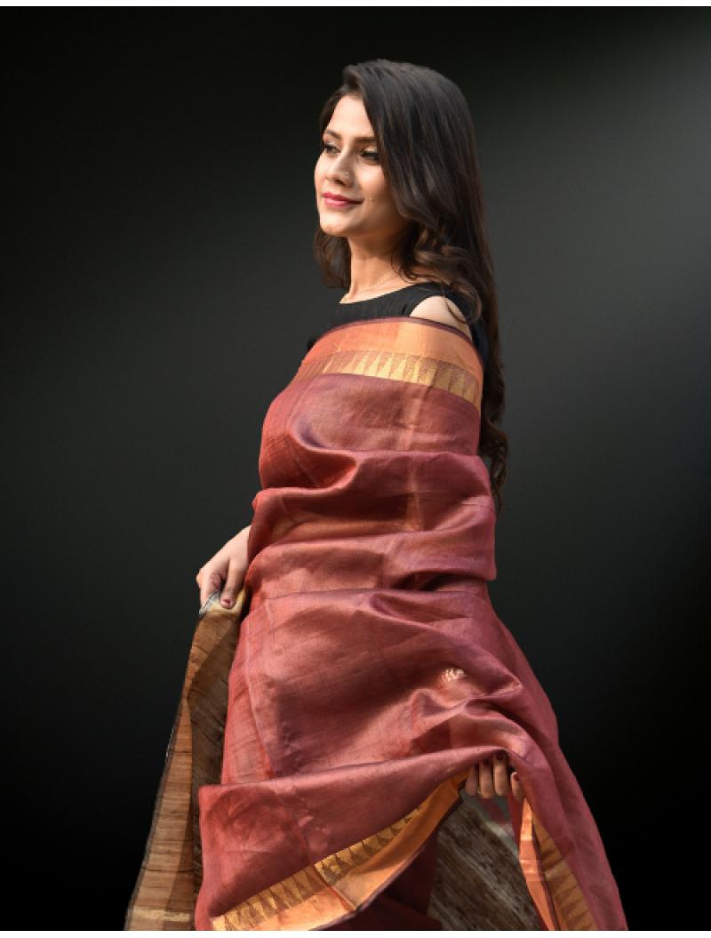 Maroon Pure Tusser Silk Saree