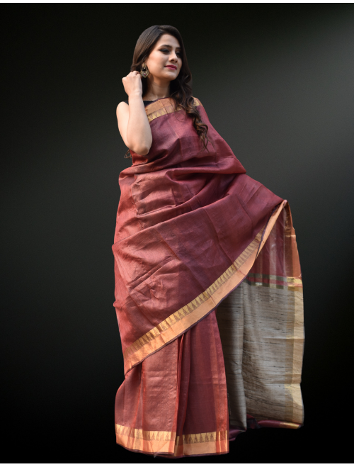 Maroon Pure Tusser Silk Saree