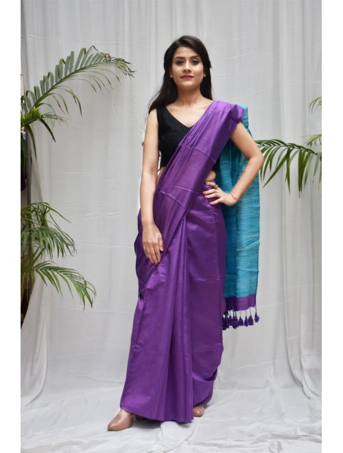 Purple Blue Tusser Silk cotton blend Sar...