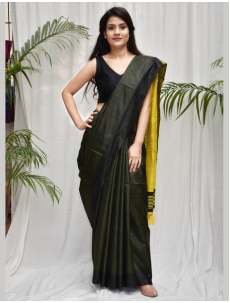 Vidisha Military Green Tusser Silk cotto...