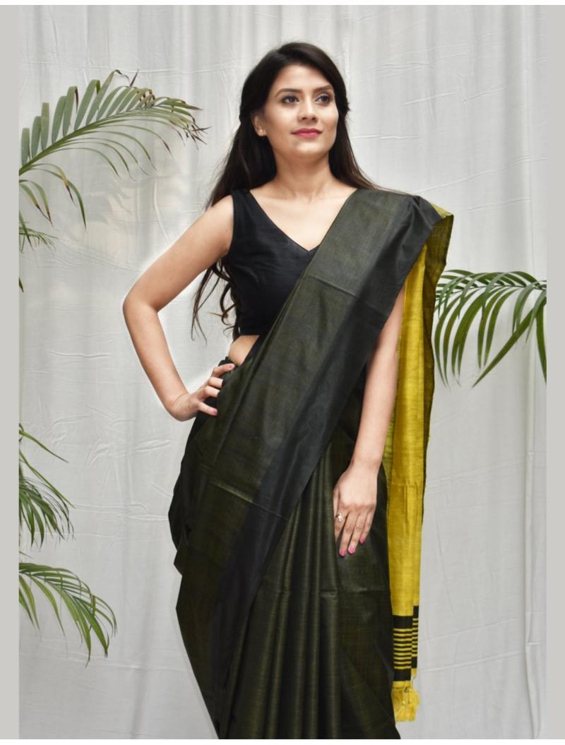 Vidisha Military Green Tusser Silk cotton blend Saree