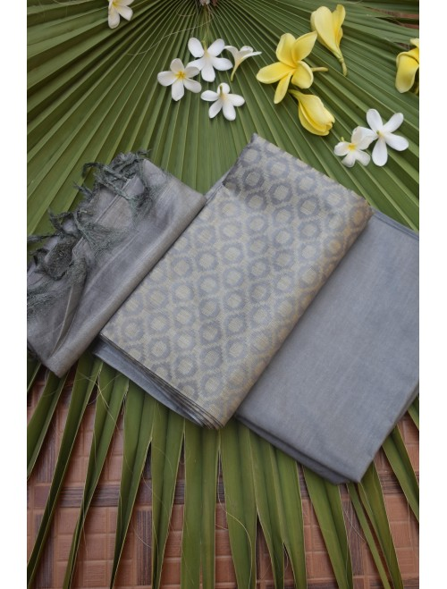 Katan Silk Grey Unstitched Set