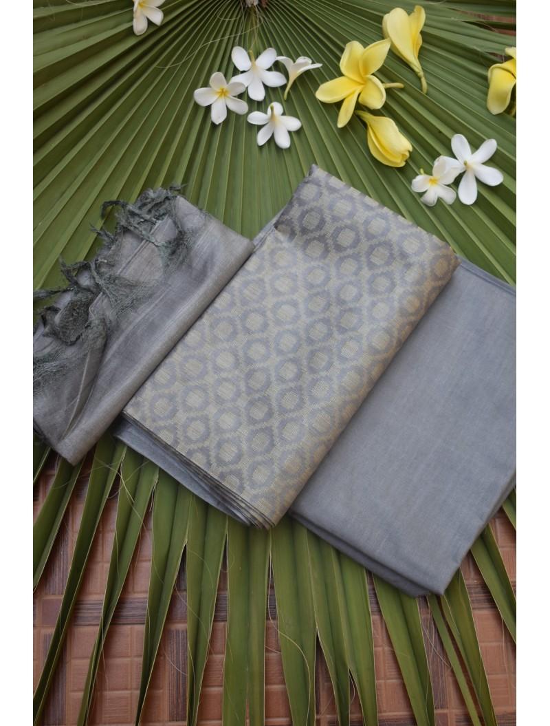 Katan Silk Grey Unstitched Set