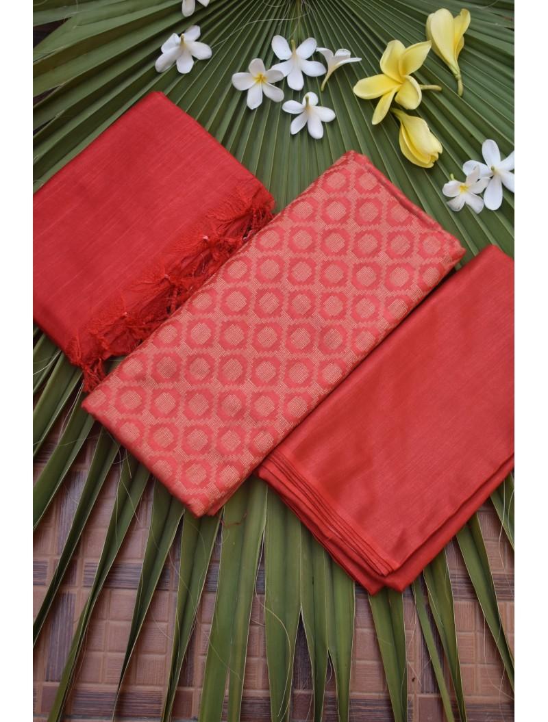 Katan Silk Red Unstitched Set