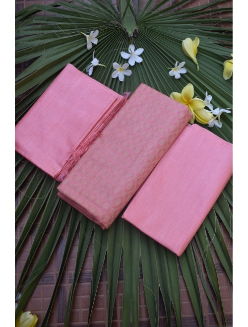 Katan Silk Pink Unstitched Set