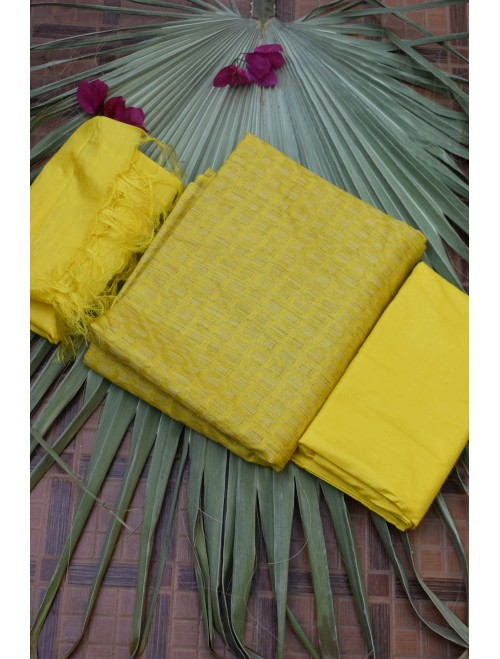 Katan Silk Yellow Unstitched Set