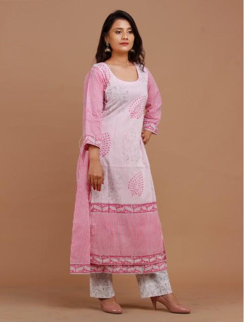 Pink Floral Handblock Printed Cotton Dou...